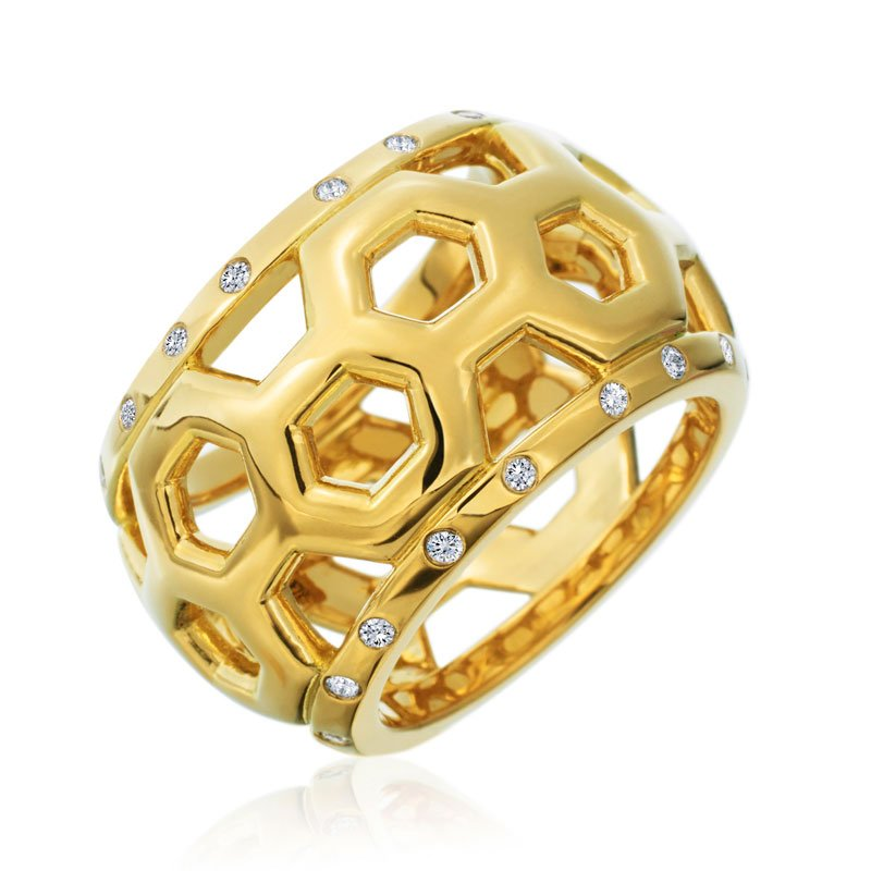 "Gumuchian Honeybee ""B"" Honeycomb Border Ring R880G"