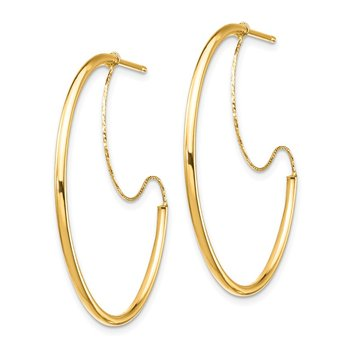 14K 1.5x30mm Polished with D/C wire Hoop Earrings