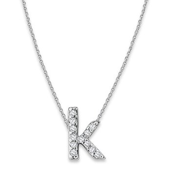 "Diamond Baby Typewriter Initial ""K"" Necklace in 14k White Gold with 12 Diamonds weighing .07ct tw."