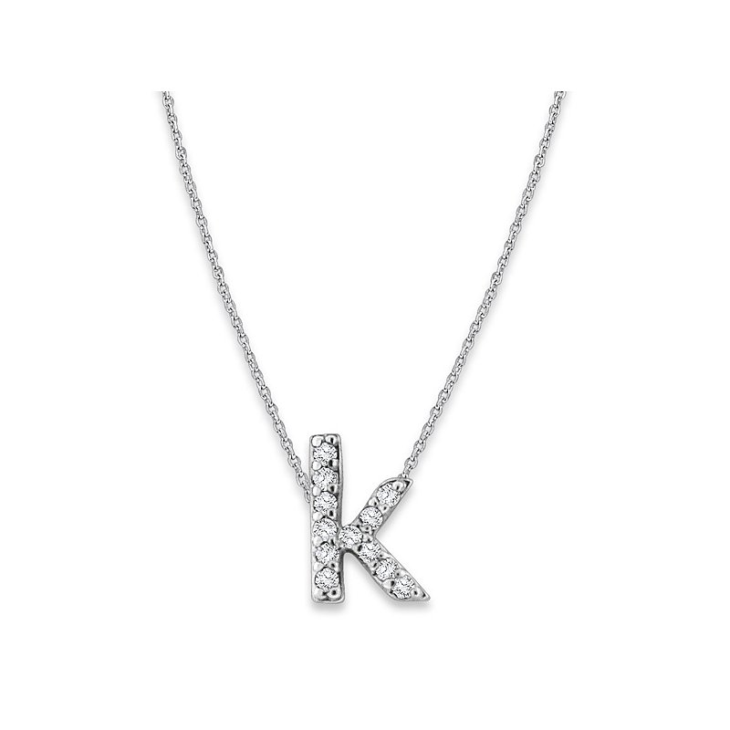 "MAZZARESE Fashion Diamond Baby Typewriter Initial ""K"" Necklace in 14k White Gold with 12 Diamonds weighing .07ct tw."