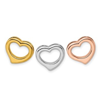Sterling Silver Rhodium, Gold & Rose-tone Set of 3 Hearts Pendant
