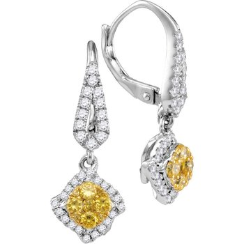14kt White Gold Womens Round Yellow Diamond Diagonal Square Cluster Dangle Earrings 3/4 Cttw