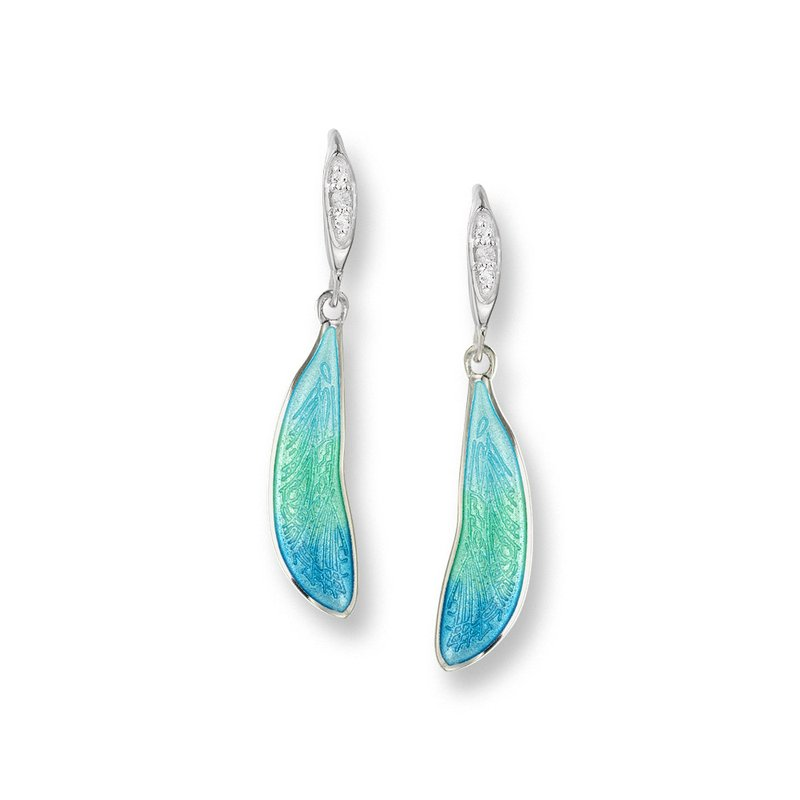 Nicole Barr Designs Blue Dragonfly Wire Earrings.Sterling Silver-White Sapphires