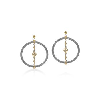 Grey Cable Lace Round Earrings with 18kt Yellow Gold & Diamonds