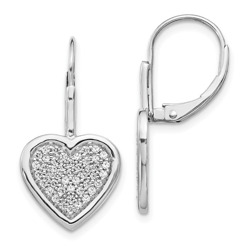 Quality Gold 14k White Gold Diamond Fancy Heart Leverback Earrings