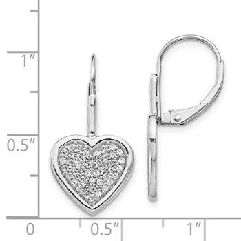 14k White Gold Diamond Fancy Heart Leverback Earrings