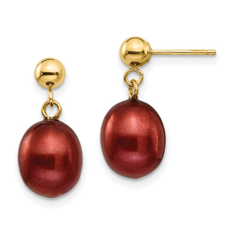 Quality Gold 14k 8-9mm Brown Freshwater Cultured Pearl Dangle Post Earrings
