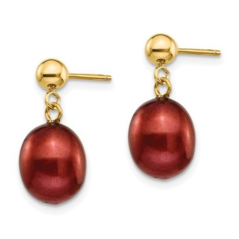 14k 8-9mm Brown Freshwater Cultured Pearl Dangle Post Earrings