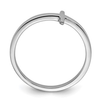 Sterling Silver Rhodium-plated Sideways Cross Ring