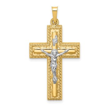 14k Two-tone Hollow Polished Rope Edge Latin Crucifix