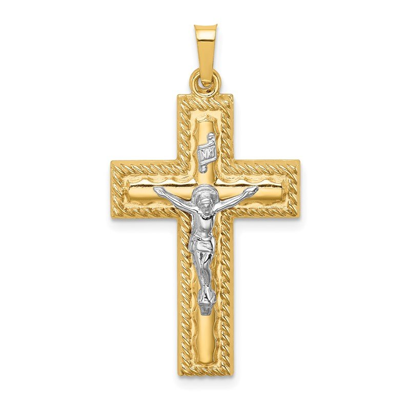 Quality Gold 14k Two-tone Hollow Polished Rope Edge Latin Crucifix
