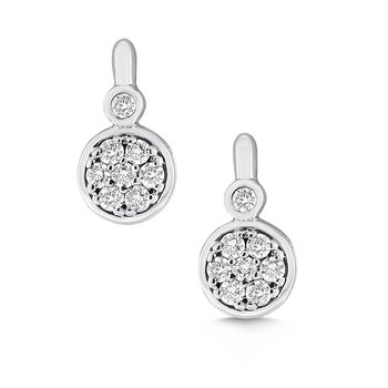 Diamond Small Round Shaped Earrings in 14k White Gold with 16 Diamonds weighing .34ct tw
