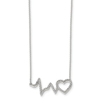 Sterling Silver Polished CZ Heartbeat 18in Necklace