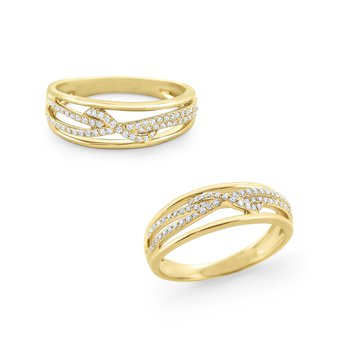 Diamond Twist Band Set in 14 Kt. Gold