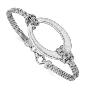 Sterling Silver Rhodium-plated Brushed Oval Mesh Knotted Bracelet