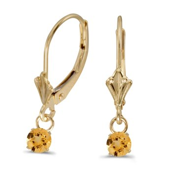 14k Yellow Gold 5mm Round Genuine Citrine Lever-back Earrings