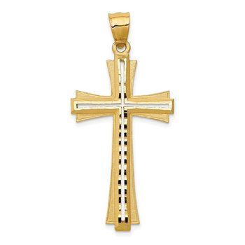 14K Diamond Cut and Satin Cross Pendant