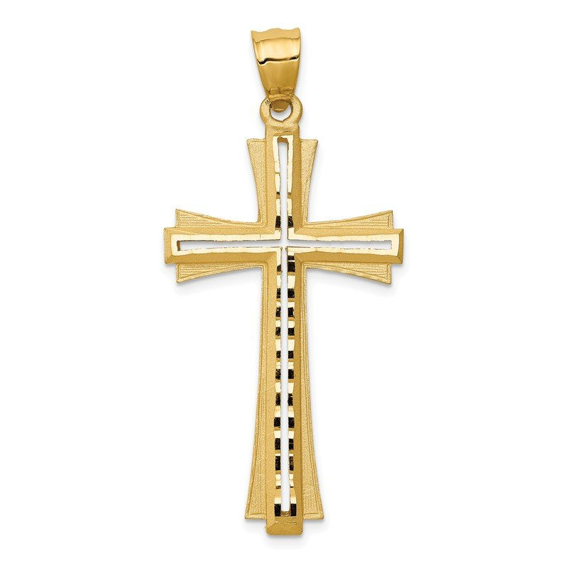 Quality Gold 14K Diamond Cut and Satin Cross Pendant