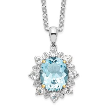 SS & 14k True Two-tone Sky Blue & White Topaz Necklace