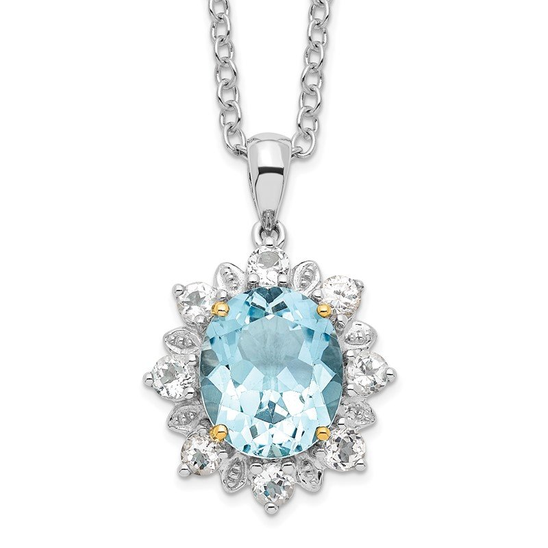 Quality Gold SS & 14k True Two-tone Sky Blue & White Topaz Necklace