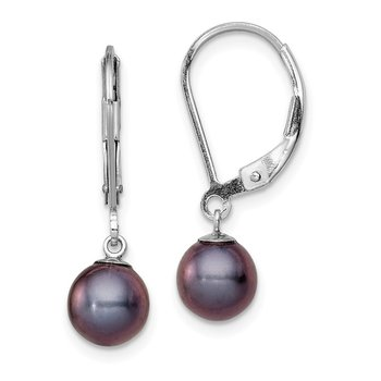 Sterling Silver Rhodium-plated 6-7mm Black FWC Pearl Leverback Earrings