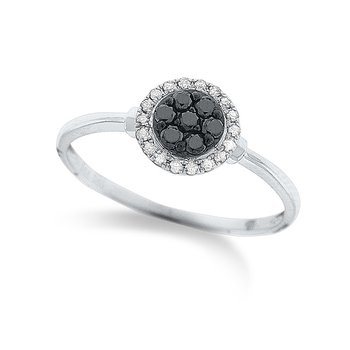 Black And White Diamond Cluster Ring in 14k White Gold with 21 Diamonds weighing .34ct tw.