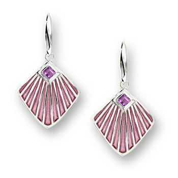 Sterling Silver Fan Wire Earrings-Purple. Amethyst