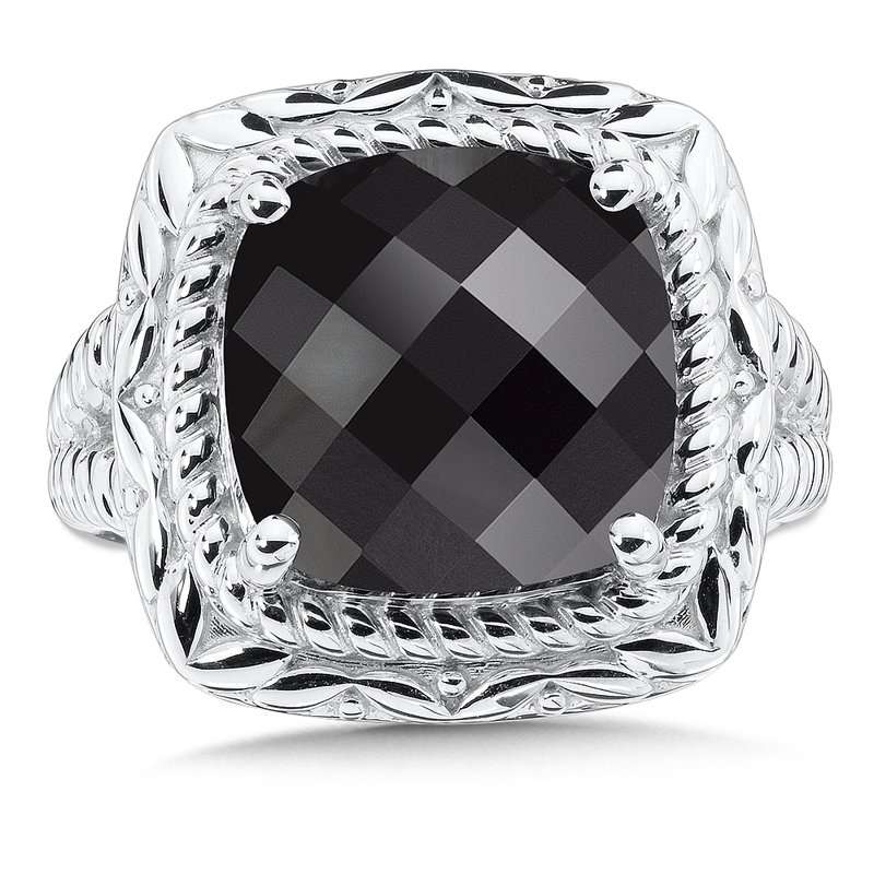 Colore Sg Sterling Silver Onyx Cocktail Ring
