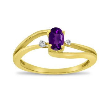 14k Yellow Gold Oval Amethyst And Diamond Wave Ring