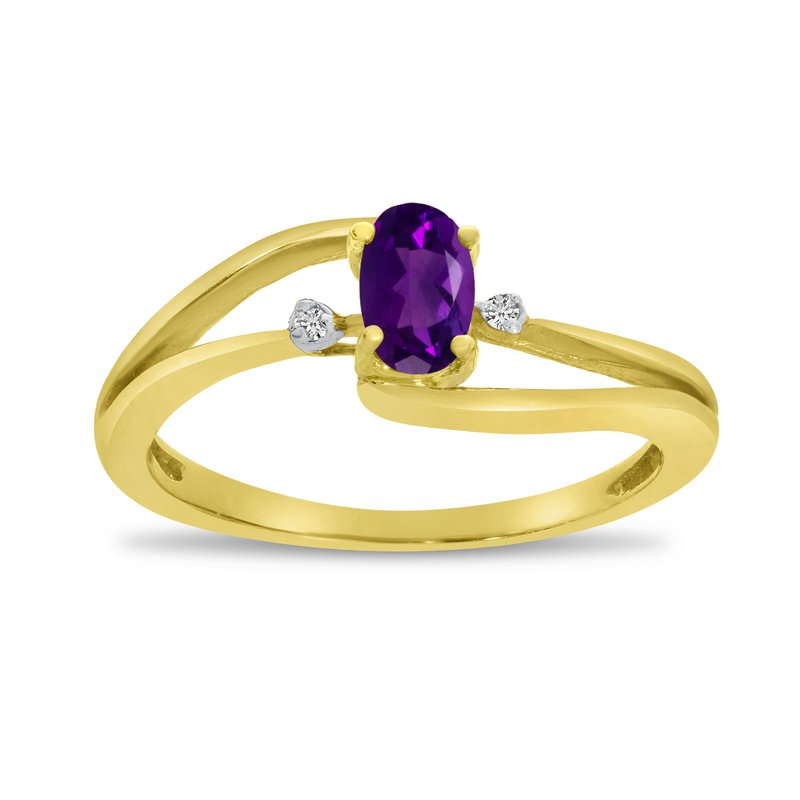 Color Merchants 14k Yellow Gold Oval Amethyst And Diamond Wave Ring