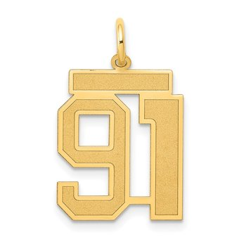 14k Medium Satin Number 91 Charm
