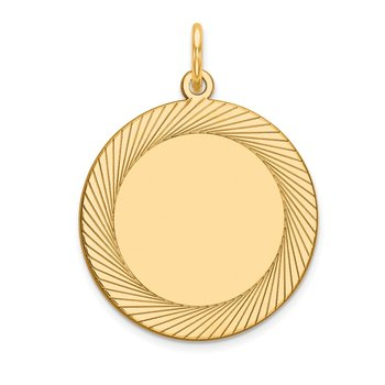 14k Etched Design .027 Gauge Circular Engravable Disc Charm