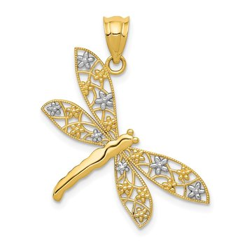 14k w/Rhodium Filigree Dragonfly Pendant