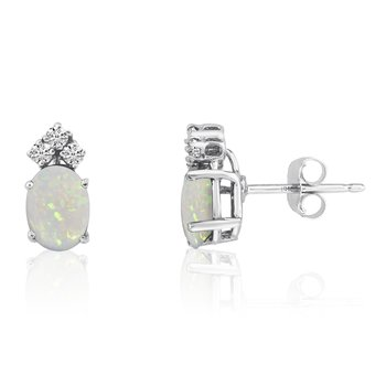 14k White Gold Oval Opal Earrings with Diamonds