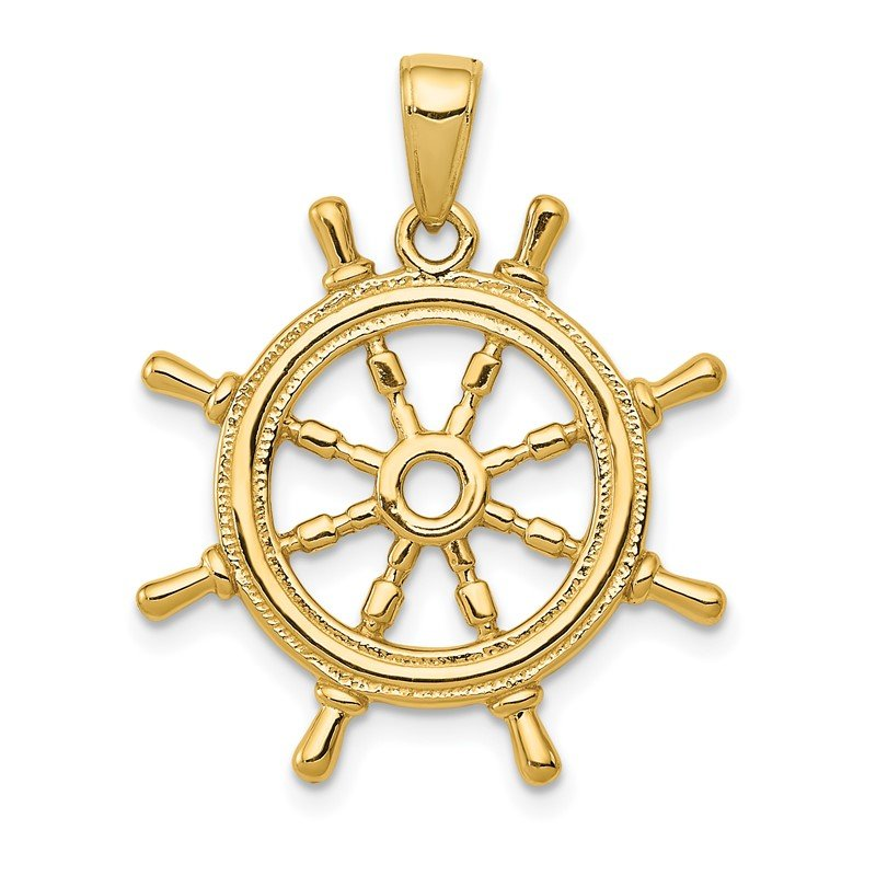 J.F. Kruse Signature Collection 14K 3D Ships Wheel Pendant