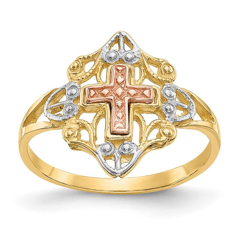 Quality Gold 14K Two-tone w/White Rhodium Cross Ring