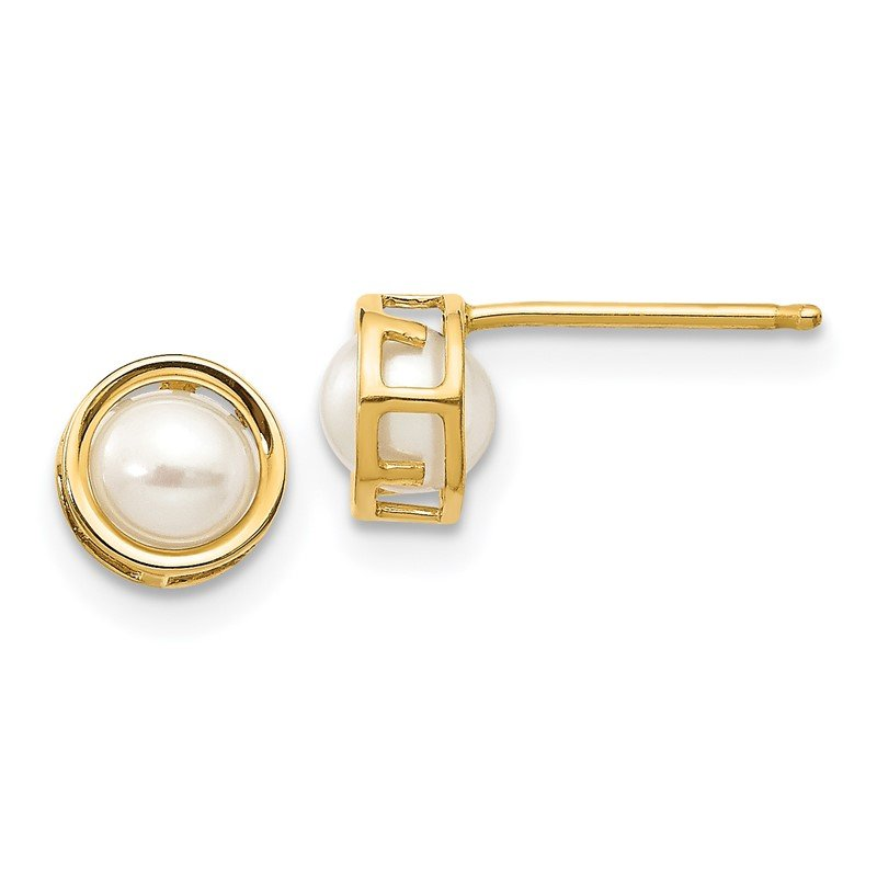 Quality Gold 14k 4.5mm Bezel FW Cultured Pearl Stud Earrings