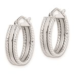 Quality Gold Sterling Silver Rhodium Plated 5mm Textured Hoop Earrings