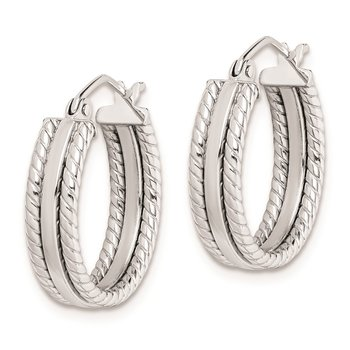 Sterling Silver Rhodium Plated 5mm Textured Hoop Earrings