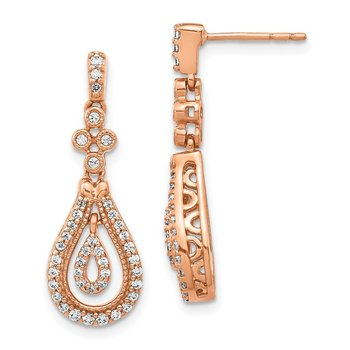 14k Rose Gold Polished Diamond Post Earrings