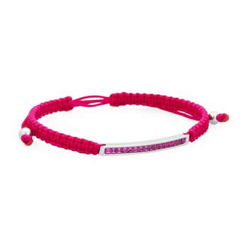 Bracelet. 316L stainless steel, fucsia cotton macramé cord and fuchsia Swarovski® Elements crystals