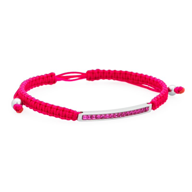 Brosway Bracelet. 316L stainless steel, fucsia cotton macramé cord and fuchsia Swarovski® Elements crystals