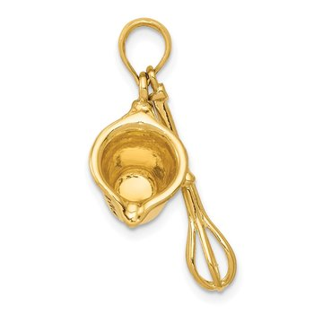 14K 3-D Black Enameled Measuring Cup and Whisk Pendant