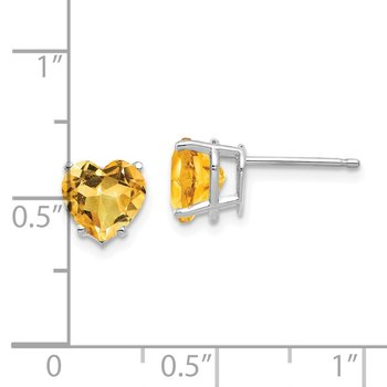 14k White Gold 7mm Heart Citrine Earrings