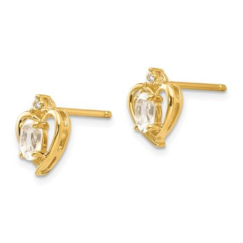 14k White Topaz and Diamond Heart Earrings
