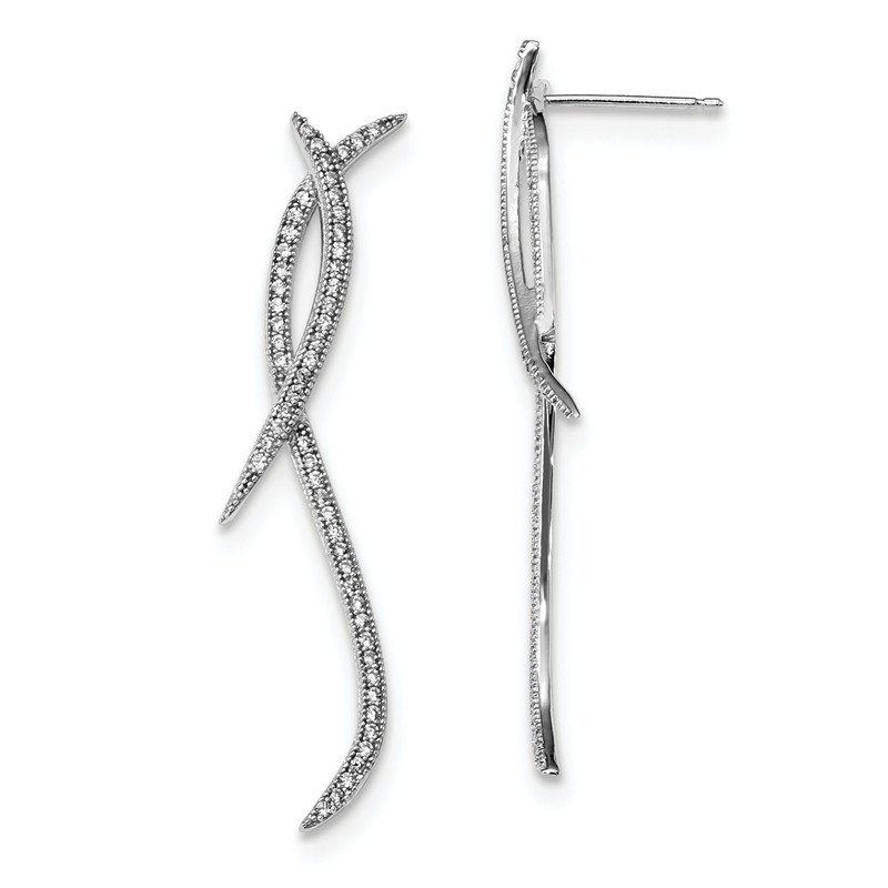 J.F. Kruse Signature Collection SS Rhodium-Plated CZ Brilliant Embers Post Earrings