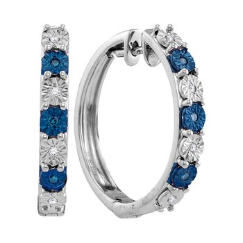 Sterling Silver Womens Round Blue Color Enhanced Diamond Hoop Earrings 1/10 Cttw