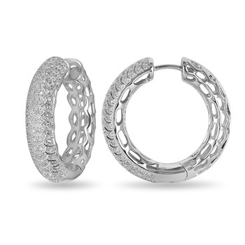 925 SS and Diamond Hoop Earring in Pave Setting