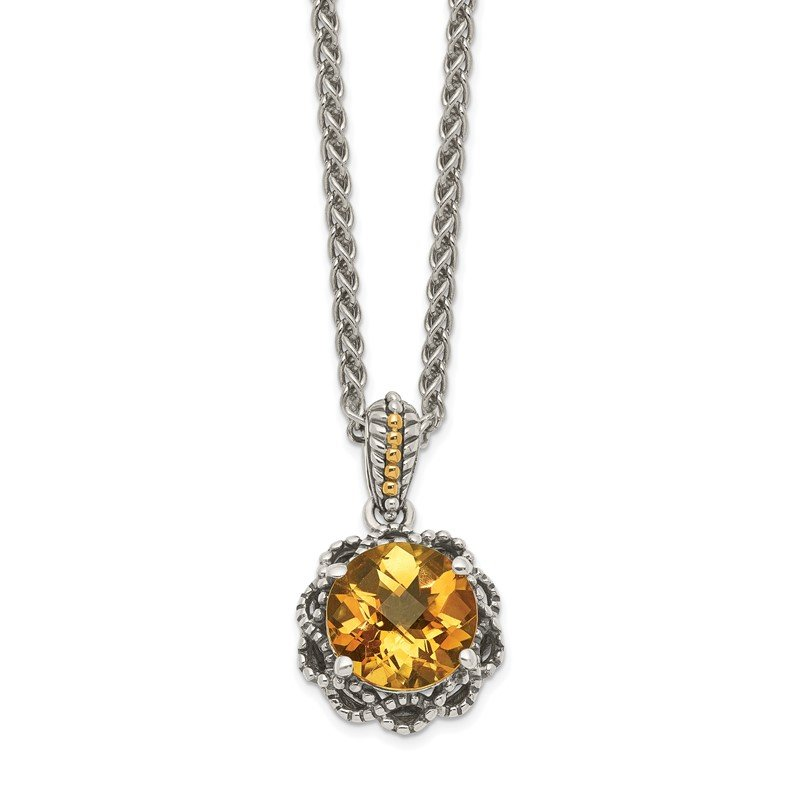 Quality Gold Sterling Silver w/ 14k Polished Citrine Necklace