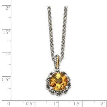 Sterling Silver w/ 14k Polished Citrine Necklace